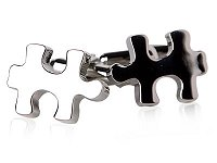 Jigsaw Puzzle Piece Cufflinks in Silver