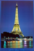 Eiffel Tower at night postcard